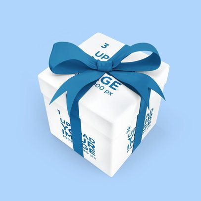 Gift Box Mockup Featuring a Customizable Ribbon 3487-el1