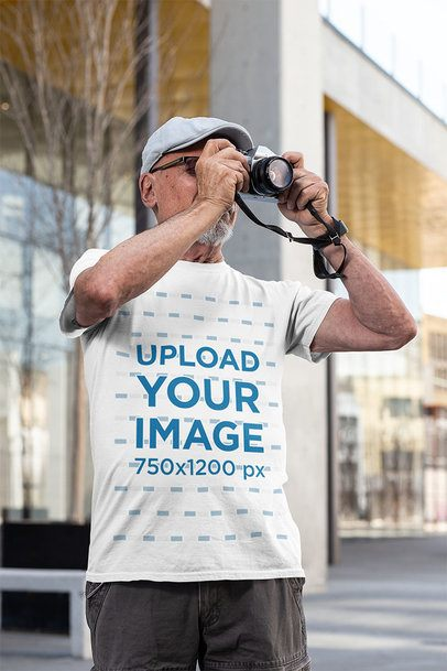 Mockup of a Senior Man Taking a Picture in the Street 32885