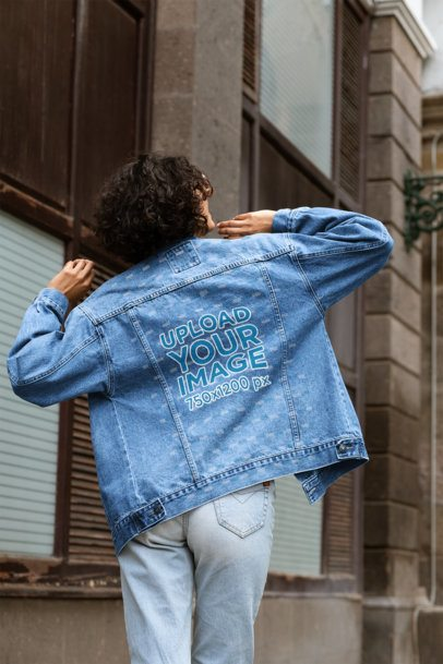 Denim Jacket Mockup of a Woman in a Cool Pose 32568