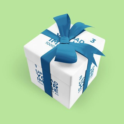Gift Box Mockup Featuring a Colored Ribbon 3488-el1