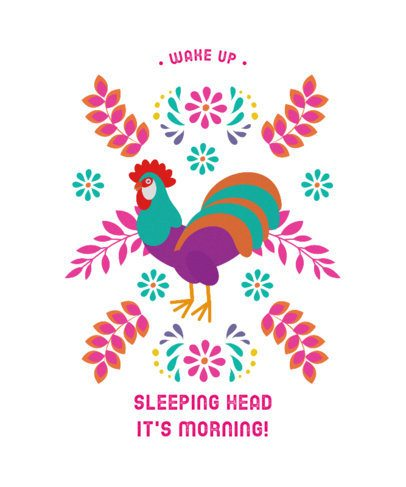 T-Shirt Design Creator with the Illustration of a Colorful Rooster 2402b