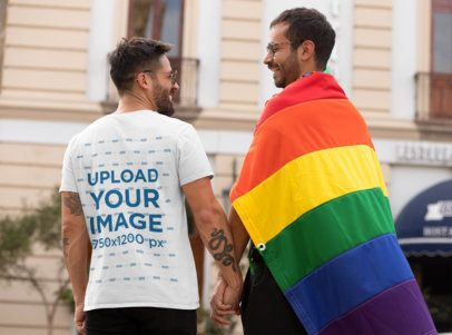 T-Shirt Mockup of a Man Holding His Boyfriend's Hand at Pride Parade 32993