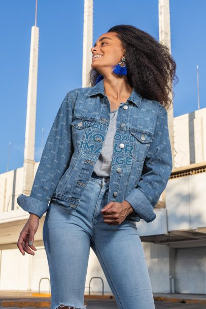 Denim Jacket Mockup Featuring a Smiling Woman 32559