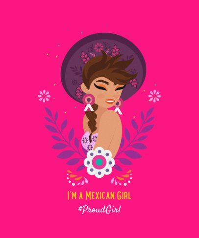 Illustrated T-Shirt Design Creator with a Woman Wearing a Sombrero 2402g