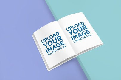 Mockup of a Hardcover Book Placed Over a Two-Color Surface 3403-el1