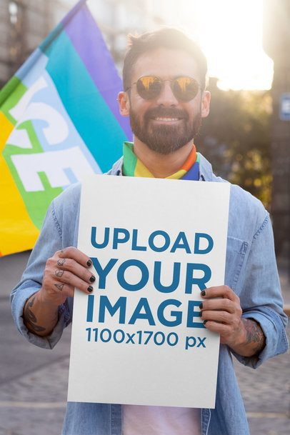 Poster Mockup of a Man at a Pride Parade 32983