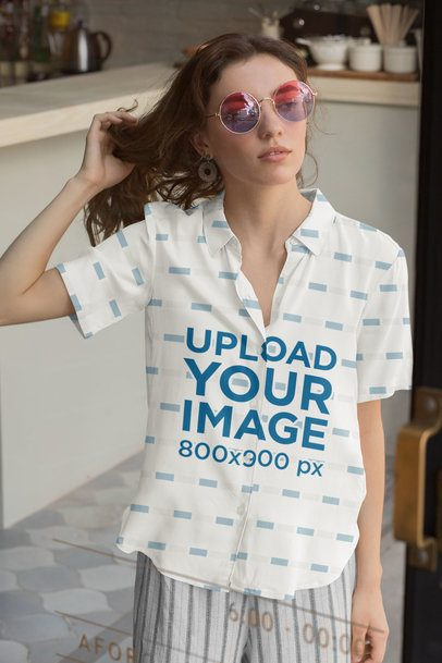 Button-Up Shirt Featuring a Woman with Colored Sunglasses 33133