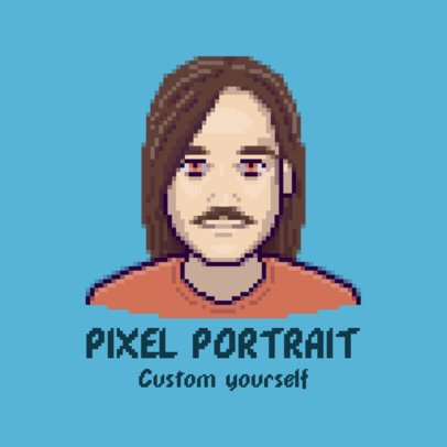 Gaming Logo Template with a Pixel Art Avatar Graphic 3093a