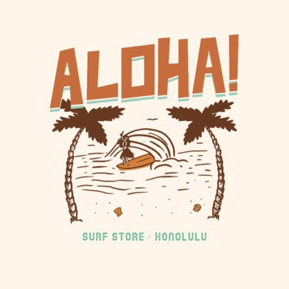 Surf Clothing Brand Logo Maker with a Vintage Hawaiian Theme 3087h