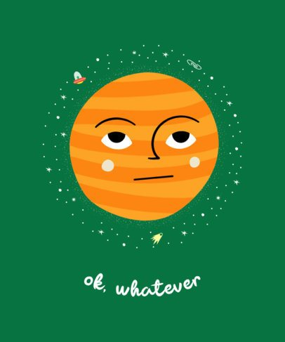 Illustrated T-Shirt Design Maker Featuring a Bored Planet 2410f