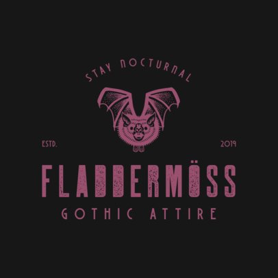 Logo Template for a Gothic Fashion Brand Featuring a Flying Bat Graphic 3088g