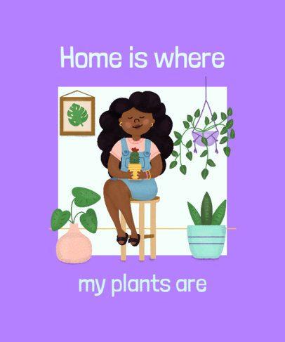 T-Shirt Design Generator Featuring a Plant Lady Illustration 2394c