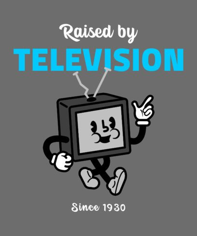 T-Shirt Design Template with a Black and White Television Character 2399a