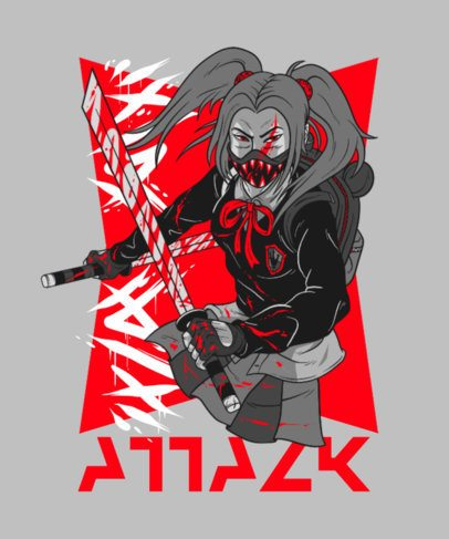 Anime-Style T-Shirt Design Maker Featuring a Female Warrior 3084d