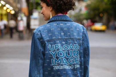 Back View of a Woman with a Denim Jacket Walking on the Street 32581