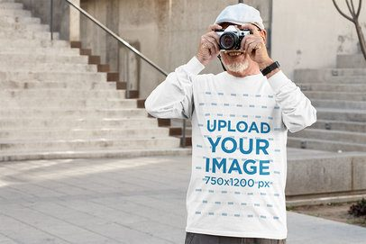 Long Sleeve Tee Mockup Featuring a Senior Man Taking a Photo 32871