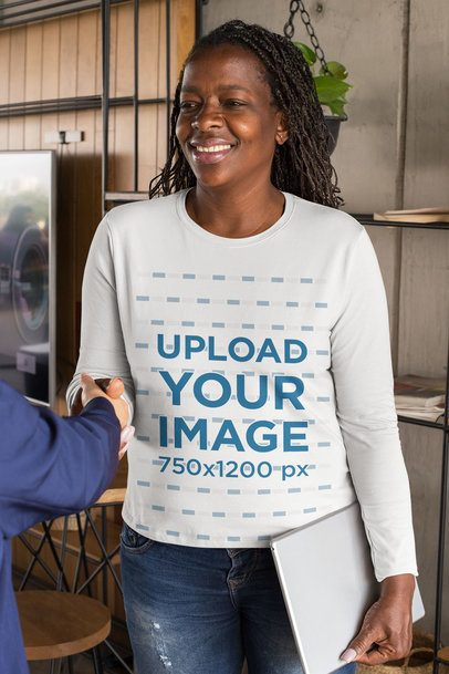 Long-Sleeve Tee Mockup of a Woman Giving a Handshake 32902