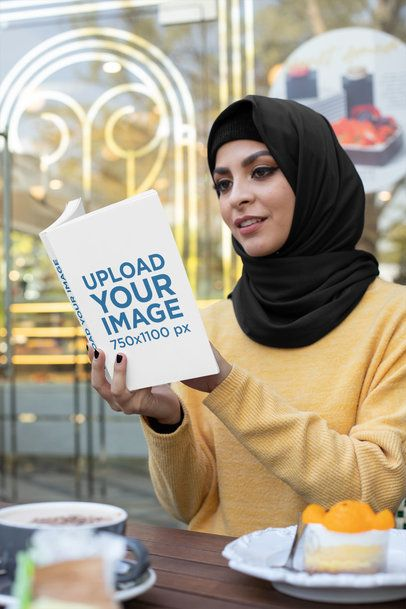 Mockup of a Woman at a Coffee Store Reading a Book and Eating 32410