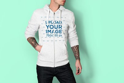 Mockup of a Tattooed Man Posing with a Heather Full-Zip Hoodie at a Studio 3578-el1