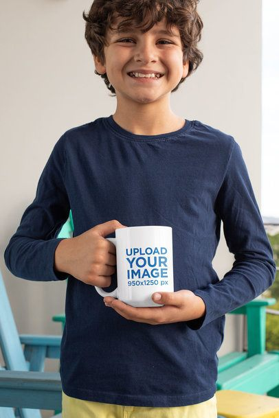 15 oz Mug Mockup Mockup of a Happy Kid at a Balcony 33171