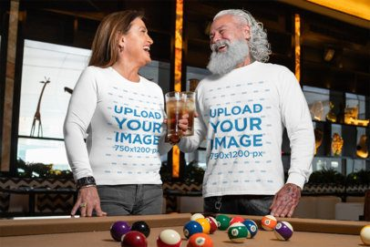 Long Sleeve Mockup Featuring a Middle-Aged Woman and a Man Laughing at a Bar 32886