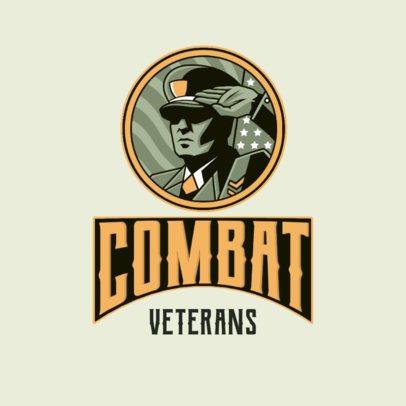Logo Template Featuring a Veteran Character Saluting 3122a