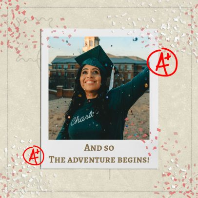 Instagram Post Design Template Featuring a Photo of a Happy Woman on Her Graduation Day 2431r