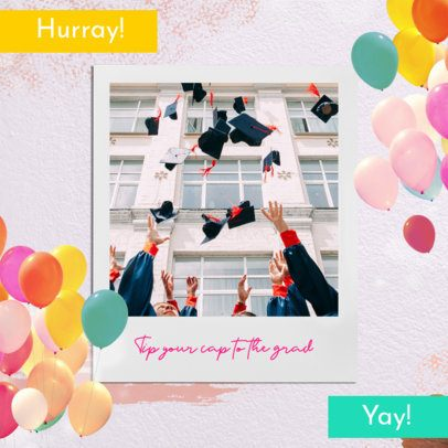 Colorful Instagram Post Design Template With Balloon Graphics and Flying Graduation Caps 2431o