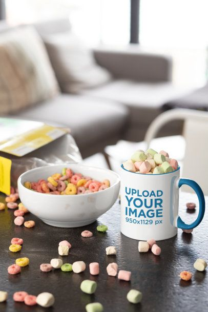 Mockup of a Two-Toned Coffee Mug Filled with Marshmallows 33197