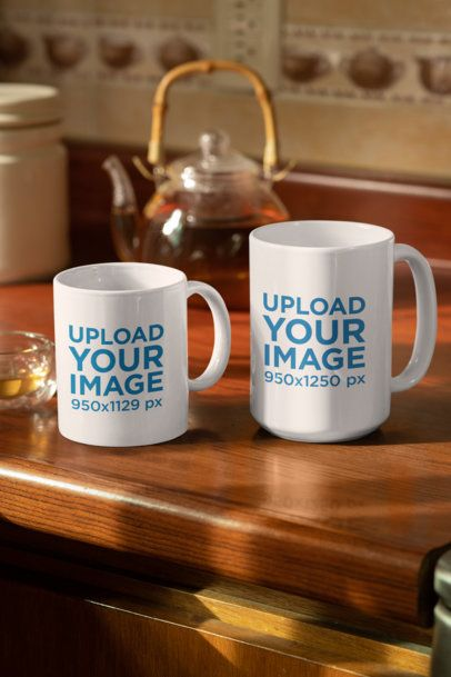 Mockup of Two Coffee Mugs Placed over a Wooden Surface 33305