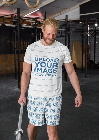 T-Shirt Mockup of a Man with Shorts Doing CrossFit 33061