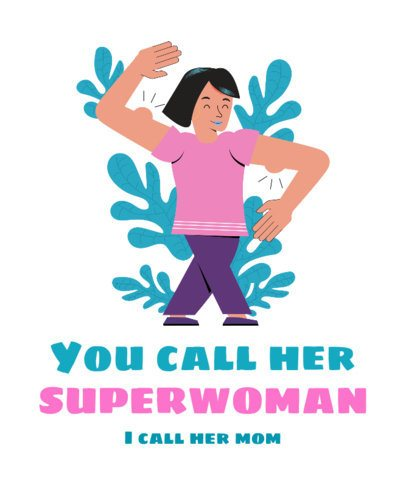 T-Shirt Design Maker for Mother's Day with a Supermom Illustration 2427c