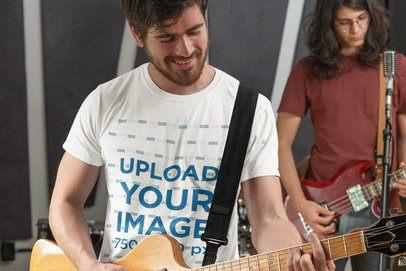 T-Shirt Mockup of a Man Playing Guitar 33335