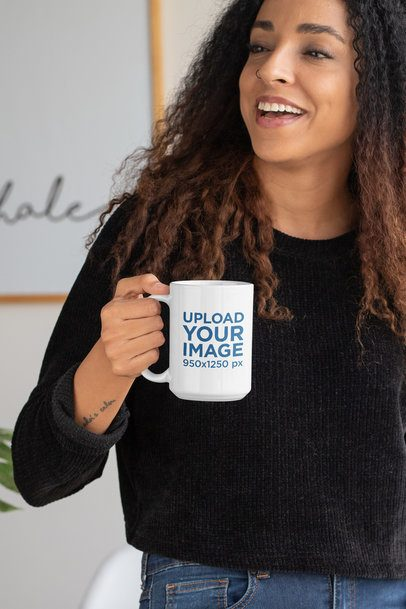 15 oz Coffee Mug Mockup Featuring a Long-Haired Woman 33176