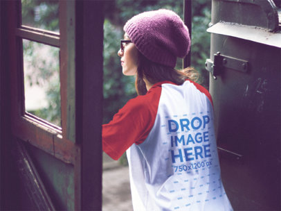 Raglan Tee Mockup of a Girl out Exploring a12511