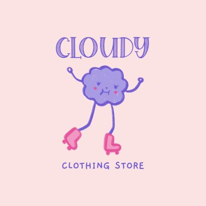 Clothing Store Logo Template Featuring a Skating Character Illustration 3116b