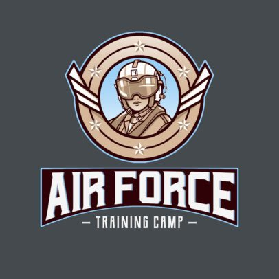 Gaming Logo Maker Featuring an Air Force Pilot Character 3122g