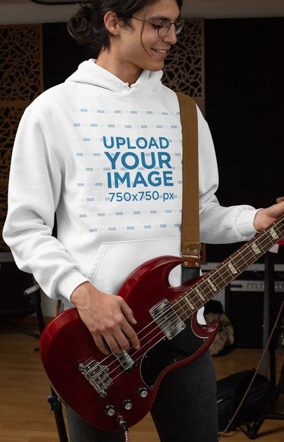 Hoodie Mockup of a Cool Man Playing Bass Guitar 33325