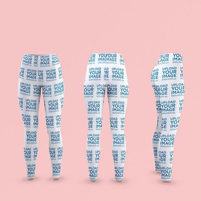 Mockup of Three Ghosted Leggings in Different Positions 3647-el1