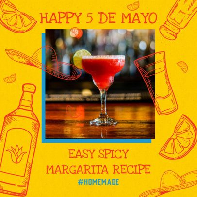 Instagram Post Maker Featuring a Festive Design for 5 de Mayo 2437