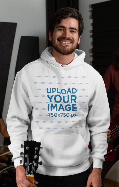 Hoodie Mockup of a Bearded Man Holding a Guitar 33338