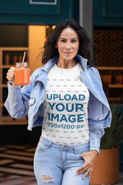 Tee Mockup of a Fit Woman Holding a Juice 32772