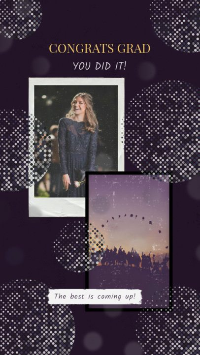 Graduation-Themed Instagram Story Design Template with a Polaroid Frame 2430x