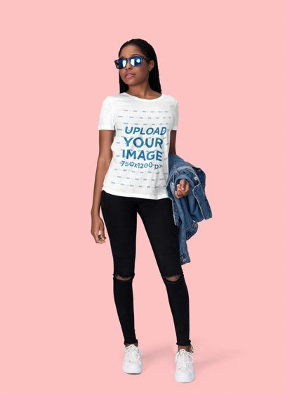 Mockup of a Cool Woman with a T-Shirt and Sunglasses at a Studio 1817-el1