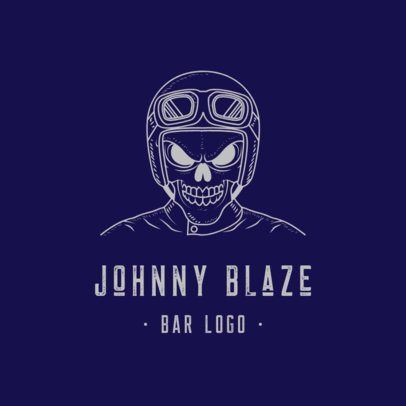 Motorcycle Bar Logo Creator Featuring a Mad Skeleton Biker 776c-el1