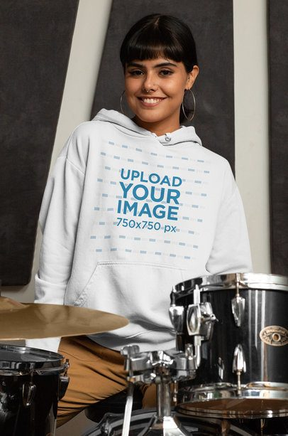 Pullover Hoodie Mockup Featuring a Smiling Female Drummer 33346