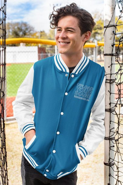 Mockup of a Relaxed Young Man Wearing a Varsity Jacket 33218