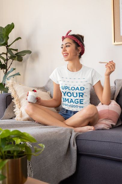 T-Shirt Mockup of a Young Woman Having a Healthy Dessert at Home 32748