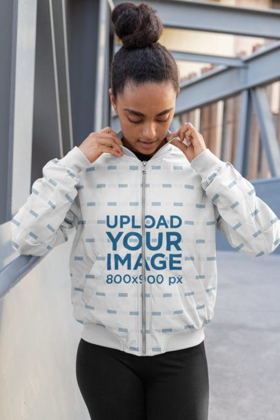 Sublimated Bomber Jacket Mockup of a Woman with a Hair Bun 33228