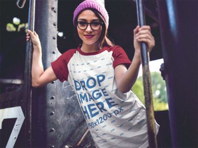 Raglan T-Shirt Mockup of a Trendy Girl Holding on to a Train 12506a